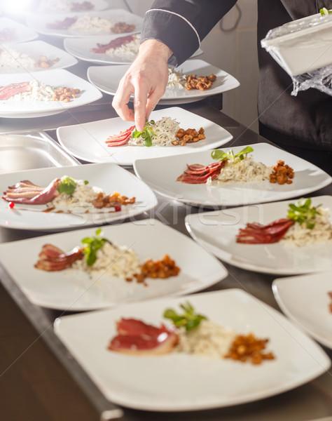 повар закуска пластина гусь груди черный Сток-фото © grafvision