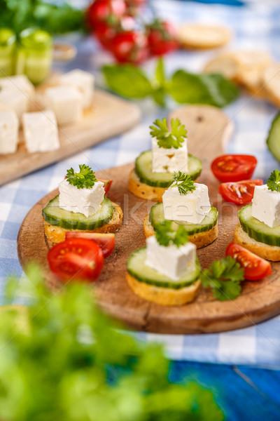 パン 焼いた フェタチーズ キュウリ 光 健康 ストックフォト © grafvision