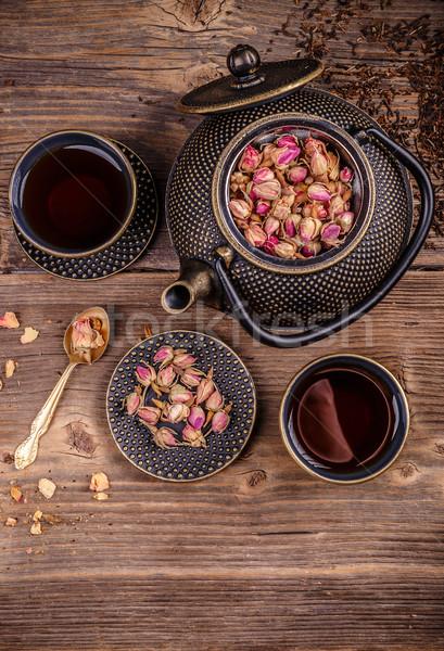 Fonte thé sécher rose boire Photo stock © grafvision