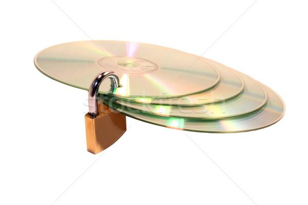 Dados trancado cd isolado branco Foto stock © grafvision