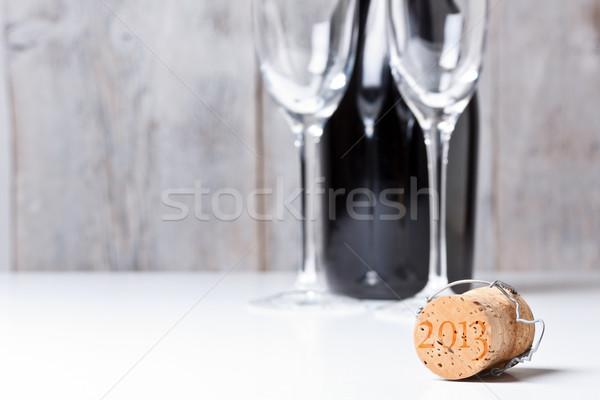 Foto stock: Champanhe · cortiça · vidro · garrafa · vinho · metal