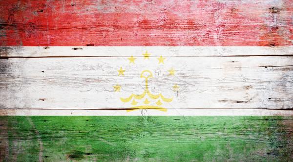 Zászló Tádzsikisztán festett koszos fa palánk Stock fotó © grafvision