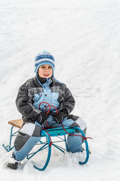 Kid sliding Stock photo © grafvision