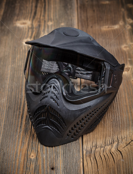Paintball máscara rústico grupo negro Foto stock © grafvision