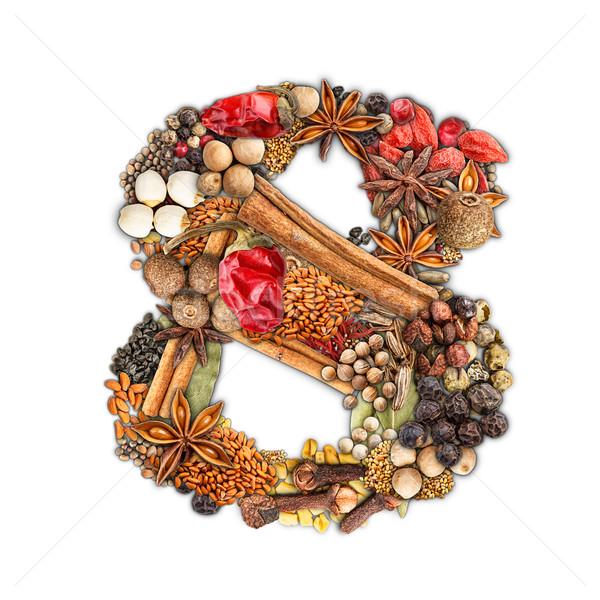 Baharatlar numara yalıtılmış beyaz gıda doğa Stok fotoğraf © grafvision