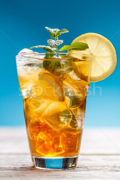 Soğuk buzlu çay mavi meyve cam limon Stok fotoğraf © grafvision