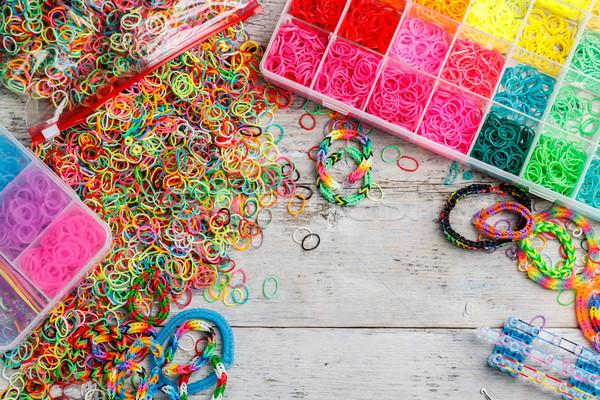 Ingesteld kleurrijk elastisch kind frame vak Stockfoto © grafvision