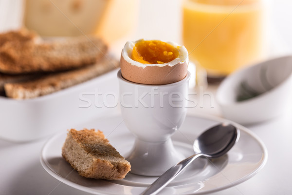ゆで卵 エッグカップ パン カップ 白 クリーン ストックフォト © grafvision