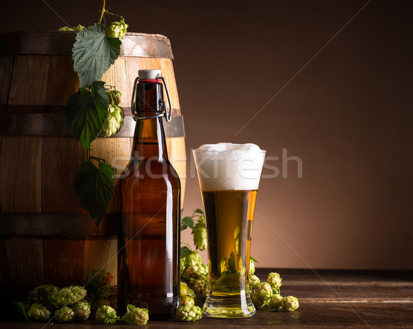 Beer glass and bottle Stock photo © grafvision