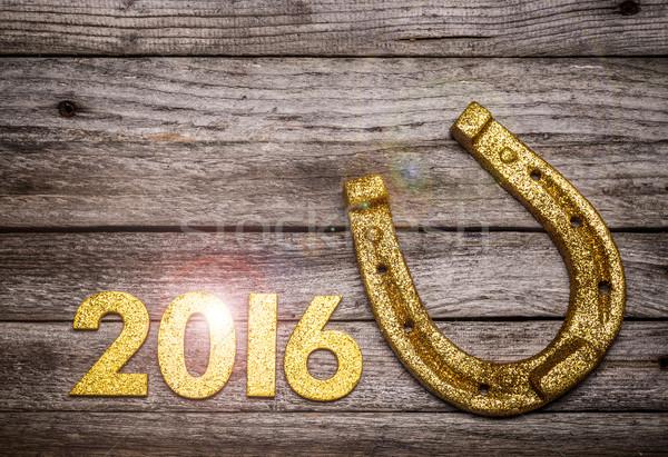 馬蹄 2016 番号 木製のテーブル 木材 ストックフォト © grafvision