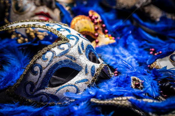 Stok fotoğraf: Karnaval · maske · mavi · tüy · yüz · soyut
