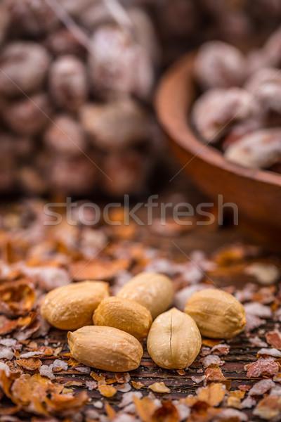 Gezouten pinda's voedsel groep Stockfoto © grafvision