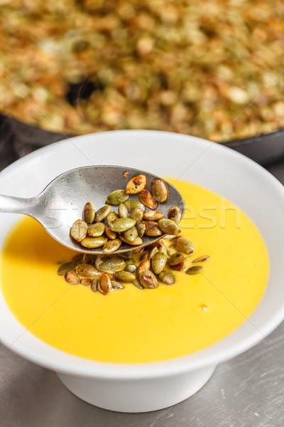 Carota zuppa servito zucca semi Foto d'archivio © grafvision