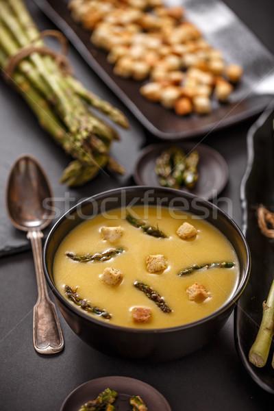 Espargos creme sopa servido pão quente Foto stock © grafvision