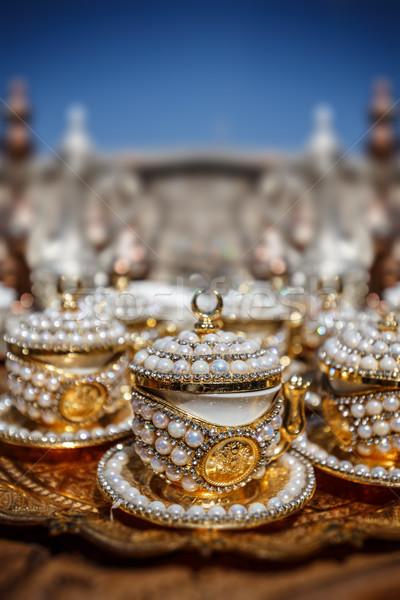 トルコ語 コーヒーカップ 真珠 装飾 カフェ 茶 ストックフォト © grafvision