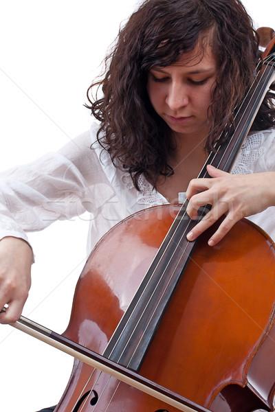 Kız oynama viyolonsel genç viyolonsel çalan müzisyen beyaz Stok fotoğraf © grafvision