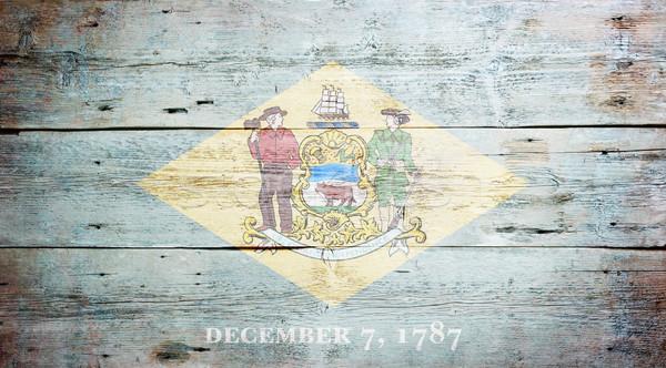 Bandera Delaware pintado sucio pared Foto stock © grafvision