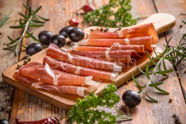 Spek heerlijk houten tafel kruiden tabel Stockfoto © grafvision