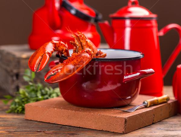 赤 ロブスター ポット 食事 シーフード 素朴な ストックフォト © grafvision