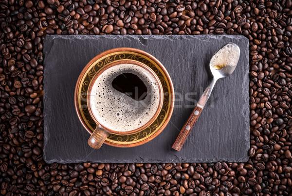 Kubek filiżankę kawy kawy spodek łyżka serwowane Zdjęcia stock © grafvision