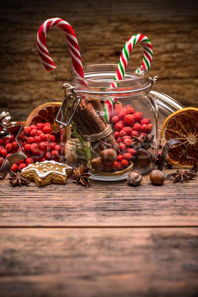 Weihnachten candy jar Dekoration orange Urlaub Stock foto © grafvision
