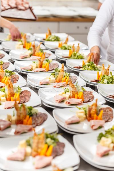 Finom előétel tányérok étterem konyha vár Stock fotó © grafvision