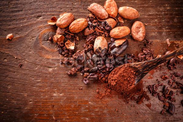 Cacao bonen poeder oude houten grond Stockfoto © grafvision