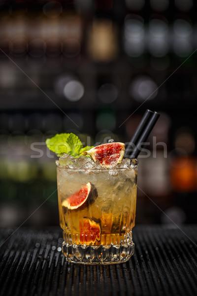 üveg jeges frissítő koktél füge felszolgált Stock fotó © grafvision