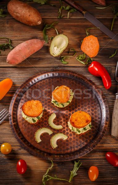 Tatlı patates tost avokado krem sağlıklı gıda Stok fotoğraf © grafvision
