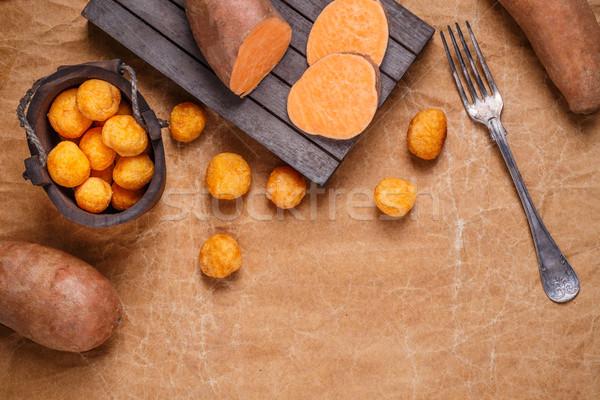 Zoete aardappel pakpapier ruimte papier achtergrond diner Stockfoto © grafvision