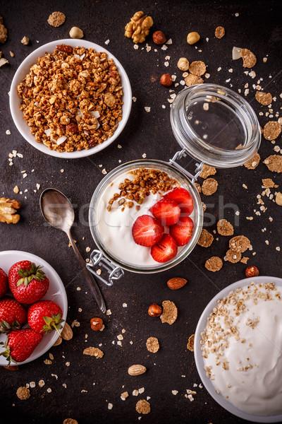 Felső kilátás házi készítésű granola joghurt friss Stock fotó © grafvision
