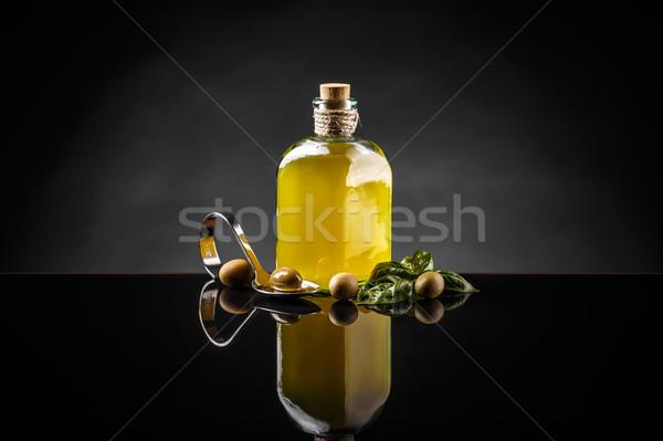 Stockfoto: Olijfolie · vintage · fles · groene · olijven · zwarte