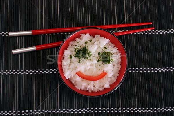 Kínai étel fekete tányér étterem ázsiai kínai Stock fotó © grafvision