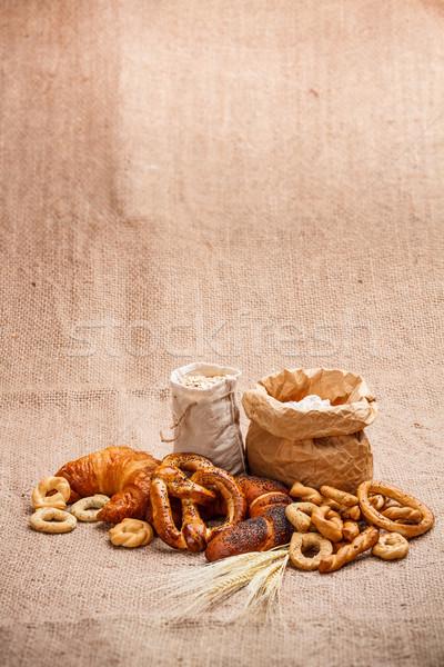 Produtos cesta rústico comida Foto stock © grafvision