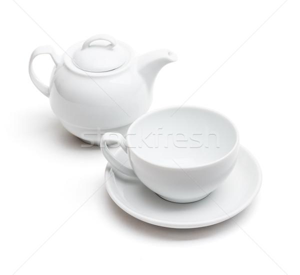 üres teáscsésze teáskanna fehér csésze edény Stock fotó © grafvision