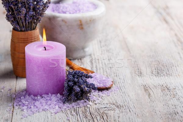 Aromaterapi mum lavanta çiçekler vücut tıp Stok fotoğraf © grafvision