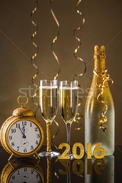2016 nouvelle année date nombre élégante flûte Photo stock © grafvision