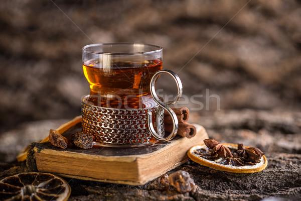üveg török tea fém fogantyú forró Stock fotó © grafvision