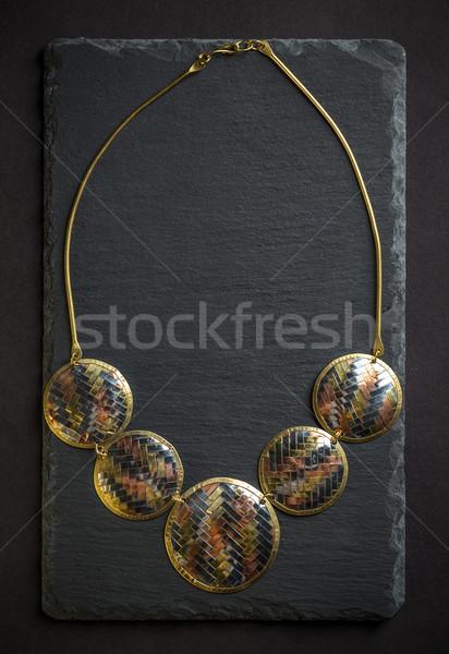 Metal kadınsı kolye siyah hediye kadın Stok fotoğraf © grafvision