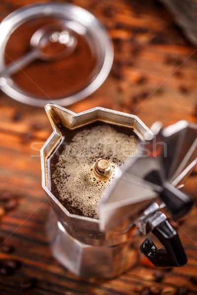 старые кофеварка эспрессо банка фон металл Сток-фото © grafvision