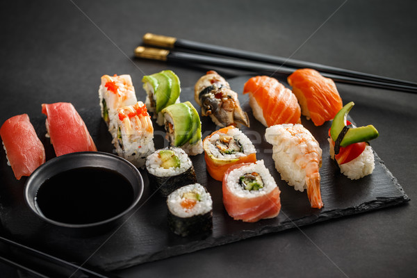 Sushi set nigiri and sushi rolls Stock photo © grafvision