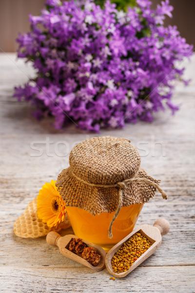Natuurlijke honing honingbij stuifmeel propolis voedsel Stockfoto © grafvision