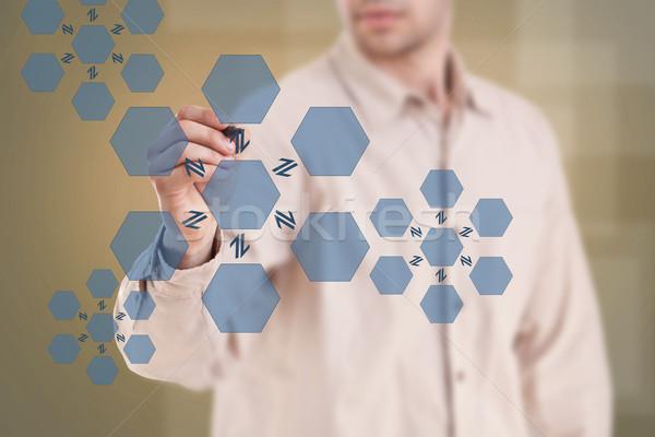 Uomo disegno diagramma centro reversibile processo Foto d'archivio © grafvision