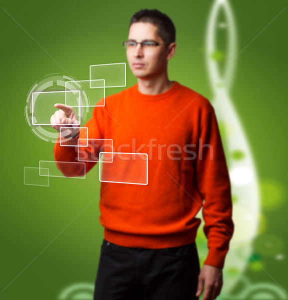 Man with interface Stock photo © grafvision