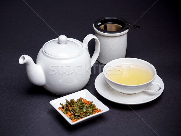 Chá verde copo torrado arroz beber milho Foto stock © grafvision