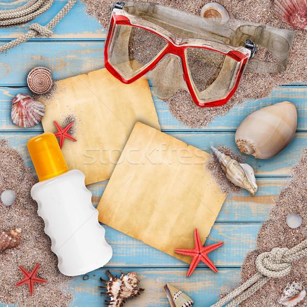 ünnep tengerparti nyaralás tengerpart kagylók védőszemüveg leégés Stock fotó © grafvision