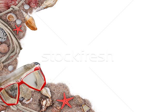 Tengerparti homok kagylók keret fehér tengerpart háttér Stock fotó © grafvision