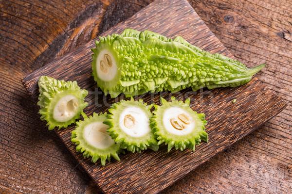 зеленый горький древесины пластина продовольствие здоровья Сток-фото © grafvision