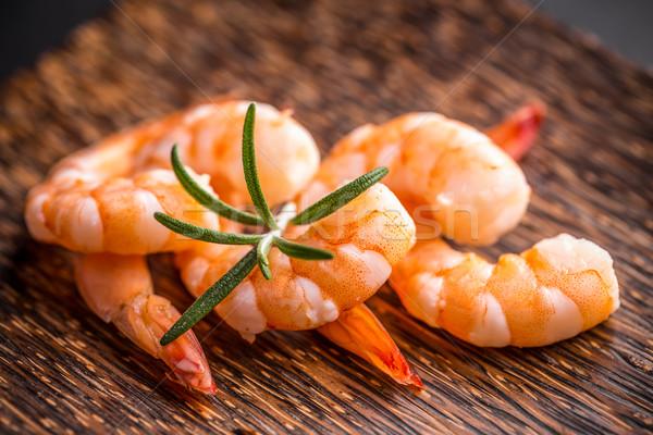 Garnélák közelkép rozmaring étel diéta egészséges Stock fotó © grafvision