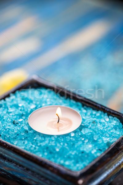 Gyertya kék fürdősó elmosódott test gyógyszer Stock fotó © grafvision